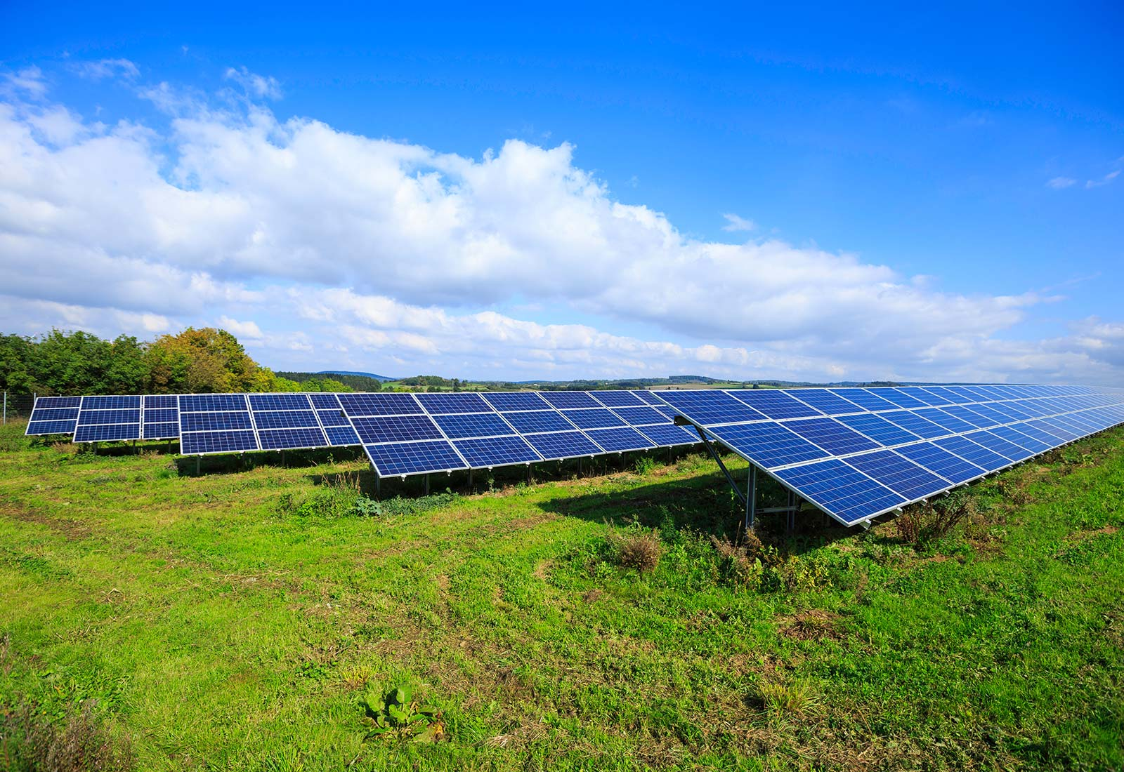 bright blue sky solar panels