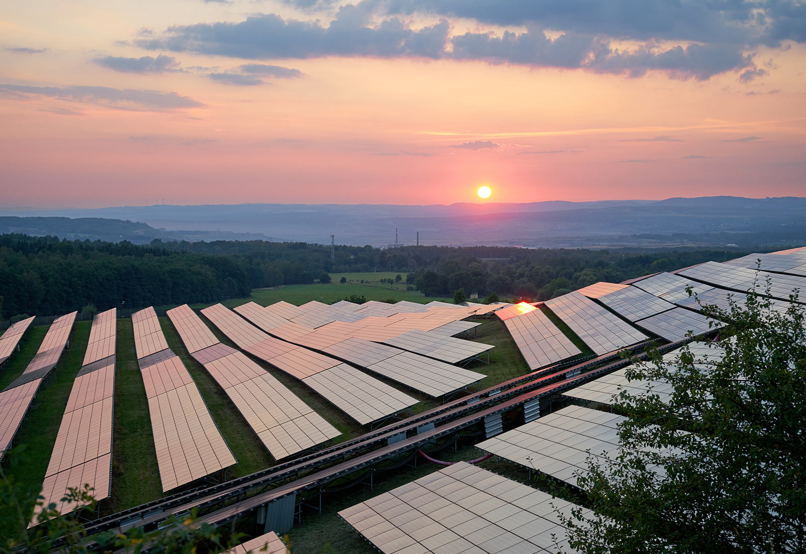 solar panels pink sunrise
