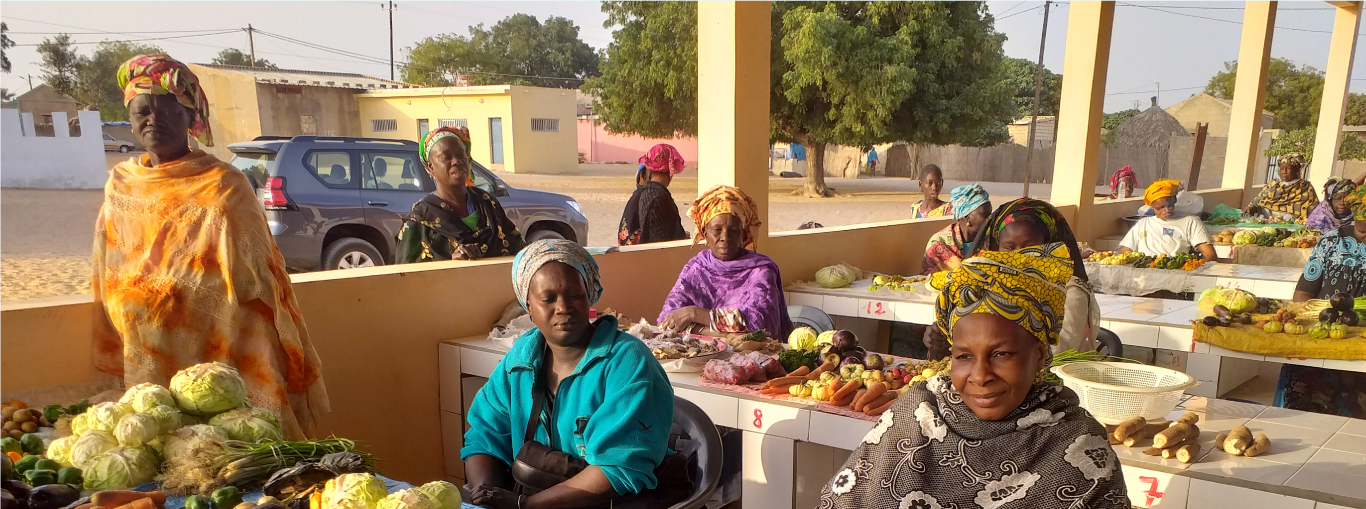 Photo of women merchants selling produce at the Taiba N'diaye market