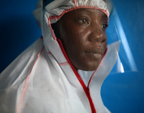 Profile of an African medical professional with protective gear