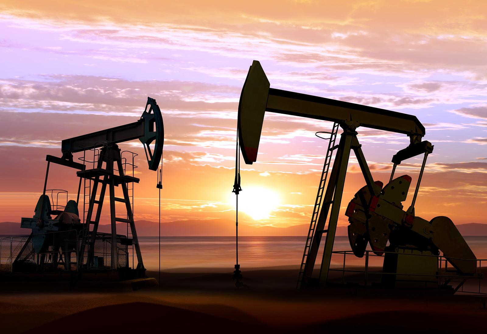 oil pumps sunset