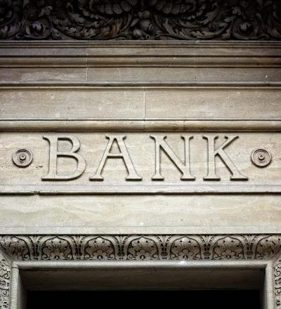 bank written on buidling