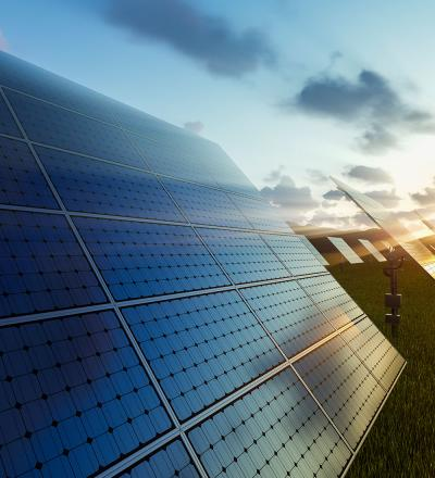 solar panel field sunset